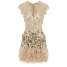 Matthew Williamson Lacquer Lace Feathered Dress ($3,030) ❤ liked on Polyvore featuring dresses, vestidos, short dresses, cocktail dresses, brown cocktail dress, feather cocktail dress, v neck dress, mini dress and v neck sequin dress