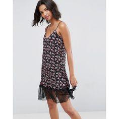 Mini Sundress with Lace Hem In Black Base Floral - Multi Asos Petite 1yx3mf