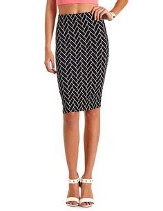 Chevron Cotton Midi Skirt: Charlotte Russe