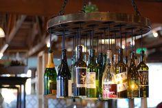 Wine bottle chandelier. So clever.