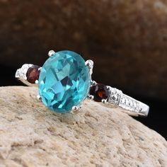Capri Blue Quartz and Mozambique Garnet Sterling Silver Ring