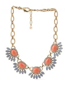 Gold Tone Plated Brass Coral Stone Necklace