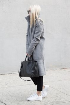 grey coat + leather bag + white sneakers