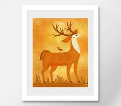 Deer Print Nursery Deer Wall Nursery Print Animal Nursery Print Animal Fantasy Creature Woodland Prints Art Fantasy Deer Art Deer Art Print  My prints are a high quality image on a thick, beautiful, textured paper (the base weight of the paper is 250 - 300g). The drawings are bright.  All prints in the shop printed by the originals of my works.  I care about your orders therefore all prints are packed in the thick corrugated cardboard and sealed in a postal plastic bag to the transporting…