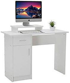 DOSLEEPS Computer Desk, Home Office Writing Desk White Wood PC Laptop Gaming Study Workstation with Cabinet and Storage Shelf for Small Space - Free Monitor Stand Computer Desks, Gaming Desk, Storage Shelves, Shelf, Office Desk, Home Office, Office Workstations, Monitor Stand, White Desks