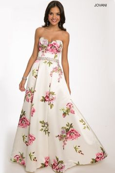 Top 3 Floral Prom Ball Gowns by Jovani 2015: Beautiful strapless floral printed Jovani prom ball gown 2015