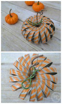 mason jar ring pumpkins with washi tape pin. DIY Fall and Autumn idea Pumpkin Crafts, Fall Crafts, Halloween Crafts, Holiday Crafts, Holiday Ideas, Autumn Ideas, Halloween Pumpkins, Halloween Party, Mason Jar Projects