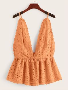 To find out about the Eyelet Embroidery Ruffle Hem Cami Top at SHEIN, part of our latest Tank Tops & Camis ready to shop online today! Summer Outfits, Girl Outfits, Cute Outfits, Fashion Outfits, Womens Fashion, Fashion Trends, Outfit Elegantes, Cami Tops, Women's Tops