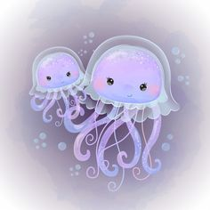 Cute Jellyfish Motherhood Illustration In Watercolor