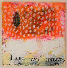 art painting original pink abstract orange snowing by eeliethel, $250.00