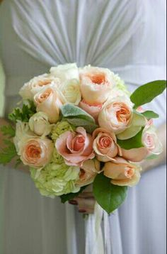 Pretty Wedding Bouquet With: White Hydrangea, White Roses, Peach Roses, Peach English Garden Roses, Green Lamb's Ear & Green Foliage