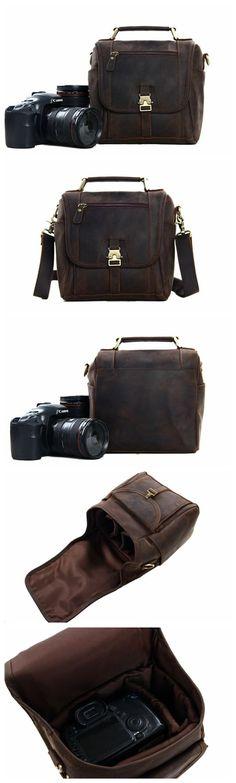 Mad Over Shoping Vintage Handmade Genuine Leather DSLR Shoulder Hikinig Camera Lenses Duffle Bag Brown