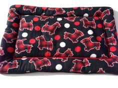 Scottie Dog Bed, Plaid Scottish Terriers, Crate Bedding, Puppy Bedding, Chair Cushion Pads, Kennel Mat, Washable Pet Beds, Scottie Dog Gifts #ChairCushionPads #ComfyPetPads #WashablePetBeds #LargeDogBeds #KennelMat #CrateBedding #DogCratePad #ScottieDogBed #PuppyBedding #FleeceDogBed