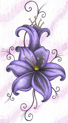 Ladybugs On Lily Flower Tattoo Design photo - 5
