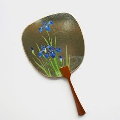 Uchiwa-fan Greeting Card - Blue Blooming Irises Hand Held Fan, Semi Transparent, Japanese Prints, Irises, Fans, Greeting Cards, Bloom, Traditional, Metal