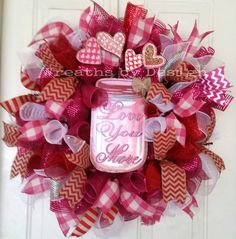 Valentine Mesh door Wreath by WreathsbyDesign1 on Etsy