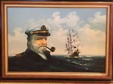AMOS CARR SAILING SHIP AND CAPTAIN FACE HUGE ORIGINAL OIL ON CANVAS PA... Lot 33