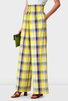 Shop Smocked waist cotton check palazzo pants   eShakti Womens Size Chart, Collar Styles, Pull On Pants, Palazzo Pants, Smocking, Dresses Online, Ready To Wear, Pajama Pants, Clothes For Women