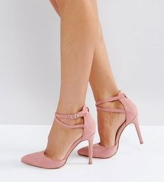 On SALE at 39% OFF! Wide Fit Bow Trim Court Shoe Heels by Truffle Collection. Shoes by Truffle, Textile upper, Ankle-strap fastening, Pointed toe, High stiletto heel, Wipe with a damp cloth, 100%...