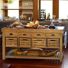 The kitchen island cart is a great addition to any kitchen decor, as this significantly increases the functionality of any kitchen decor while making it possible to enhance the options that are ava… Primitive Kitchen, Rustic Kitchen, Kitchen Dining, Kitchen Decor, Kitchen Ideas, Kitchen Island Cart, Kitchen Tops, Kitchen And Bath, Kitchen Islands