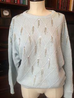 Fringe Bead Embellished Pullover Jumper Sweater by PDeeVintage