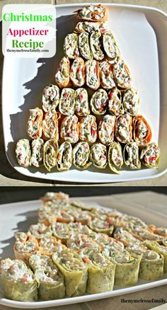 Pinwheels arranged like a tree. Could do regular tortillas for a Winter ONEderland party and arrange them like this.