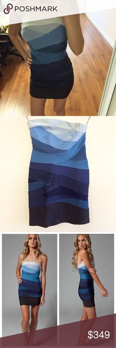 NWT Herve Leger Bandage Strapless Dress BRAND NEW WITH TAGS! Score this Herve Leger Dress.. the original bandage dress celebs crave! 100% authentic. Featuring gorgeous layers of blue fade. Material is thick & heavy that sucks everything in. Received as a gift & never worn. As shown in pics, the top right side of dress hangs higher due to storage but you cant really tell when worn. Comes with original purple box & tissue paper. Sized as M on tags. Bundle with my other Herve Leger dresses…