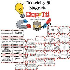 Electricity and Magnets Vocabulary Review Snap-It! Card Game $