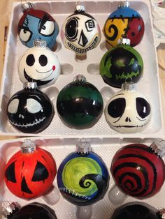 Diy do it yourself Christmas decorations Tim Burton bulbs nightmare before Christmas acrylic paint