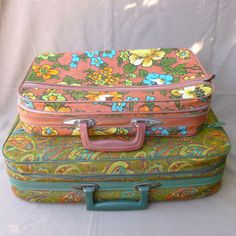 2 Vintage Small Suitcase Bantam Floral Pasley MOD MAD MEN Hippie MID Century | eBay