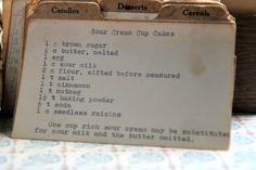 Step back in time with this vintage Sour Cream Cupcakes recipe. Read about this recipe card's history and view other recipes at the Vintage Recipe Project