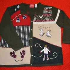 Ugly Christmas Sweater with Ice Skater 4x great for men