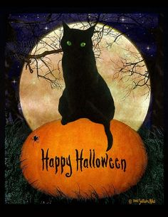 Happy Halloween to you and yours! Enjoy all the treats and none of the tricks! What is your favorite Halloween movie? Mine is Hocus Pocus! Halloween Tags, Retro Halloween, Halloween Chat Noir, Halloween Imagem, Image Halloween, Samhain Halloween, Holidays Halloween, Halloween Crafts, Halloween Decorations
