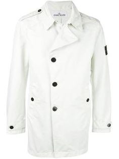 Off-white light-weight button jacket from Stone Island. All White Outfit, White Outfits, Designer Jackets For Men, Mens Lightweight Jacket, Mens Button Up, Stone Island, Jacket Buttons, Chef Jackets, Men's Jackets