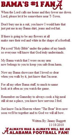 This is SO My PawPaw. Makes me miss him so much, but I know that he gets to watch me march EVERY time! Roll Tide!