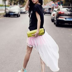 Dreamy High Low Hem Layered Skirt $31.95