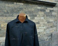 """pánská košile \""""nitěnka\"""" černý len Jitka Kellerová - autorské lněné oděvy Raincoat, Jackets, Fashion, Rain Jacket, Down Jackets, Moda, Fashion Styles, Fashion Illustrations"""