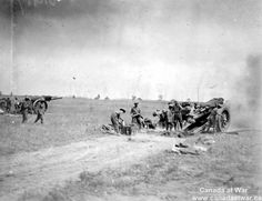 60-Pounders in Action - A 60-pounder in use during the Battle of Amiens in 1918. The opening day of the Amiens battle was an enormous success, but the deep advance of 12 kilometres forced the artillery to move forward to keep up with the infantry. In attempting to keep up with the infantry, these gunners have not had time to dig-in and are left dangerously exposed should the enemy begin to use high explosive or shrapnel fire.