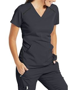 Elevate 3 Pocket Top- Grey's Anatomy Impact comparable colors: Indigo = Navy - Scrubs Outfit, Scrubs Uniform, Stylish Scrubs, Fashionable Scrubs, Cute Scrubs, Greys Anatomy Scrubs, Black Scrubs, Scrub Jackets, Medical Scrubs