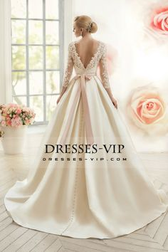 2016 Open Back Scoop With Applique And Sash A Line Satin Wedding Dresses