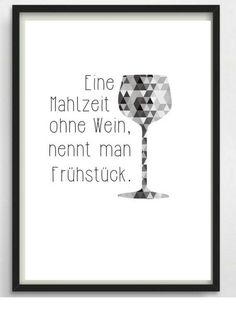 """Poster print """"Wine & Breakfast"""" Kitchen poster - * A meal without wine is called breakfast * Or maybe not? Nice typo print for your walls or as a gi - Wine Logo, Kitchen Posters, Ideas Hogar, Image Categories, Reiki Symbols, Letter Logo, All Print, Typo, Illustrations Posters"""