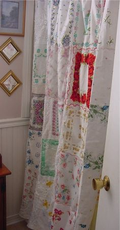 handkerchief shower curtain, Old lace and vintage handkerchiefs from grandma's stash and garage sales.  I wanted a vintage looking shower curtain for my bathroom.  , Home Decor Project