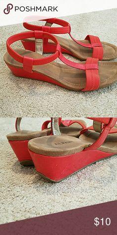 Alfani orange low wedges Orange Alfani 1 inch wedge sandals- very comfy!  Slight marks on the heel- price reflects wear. Alfani Shoes Sandals