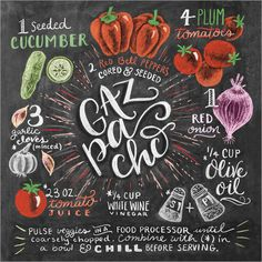 Lily & Val Gazpacho Poster at Posterlounge ✔ Fast delivery ✔ Large selection ✔ High quality prints ✔ Buy Lily & Val posters now! Chalk It Up, Chalk Art, Cama Design, Salade Caprese, Deco Pastel, Lily And Val, Chalkboard Lettering, Chalkboard Doodles, Chalkboard Ideas