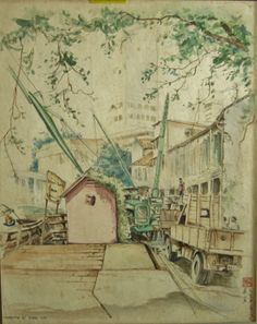 Goh Ee Choo- early Singapore river 1980 pencil and wash on paper