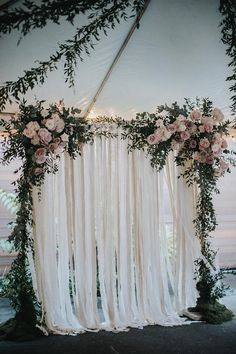 Cotton Fabric and Lace Backdrops are a beautiful soft accent for your wedding or bridal shower. We use a variety of natural tones ranging from soft whites to light tans. Flowers are not included. Fabric is cut into strips and tied to a thin cotton cord. Two extra feet of cord at