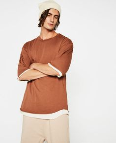 Image 2 of PIPED SEAM T-SHIRT from Zara
