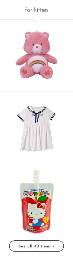 """""""for kitten"""" by dangerousprincecowboy ❤ liked on Polyvore featuring fillers, toys, pink, plushies, stuffed animals, backgrounds, dresses, navy blue dress, white day dress and white sailor dress"""