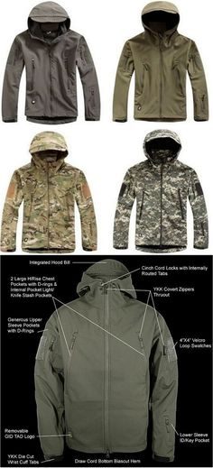 Men waterproof army style jacket.