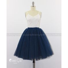 Ciara Navy Blue Tulle Skirt 7-Layers Puffy Tutu Dark Blue Swiss Tulle... ($79) ❤ liked on Polyvore